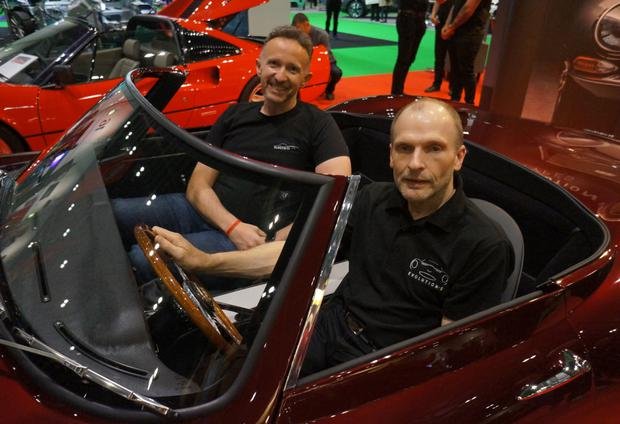 Jaguar E-Type: Norman Crowley of Crowley Carbon and Uryk Dmyterko of Evolution at the London Motor Show