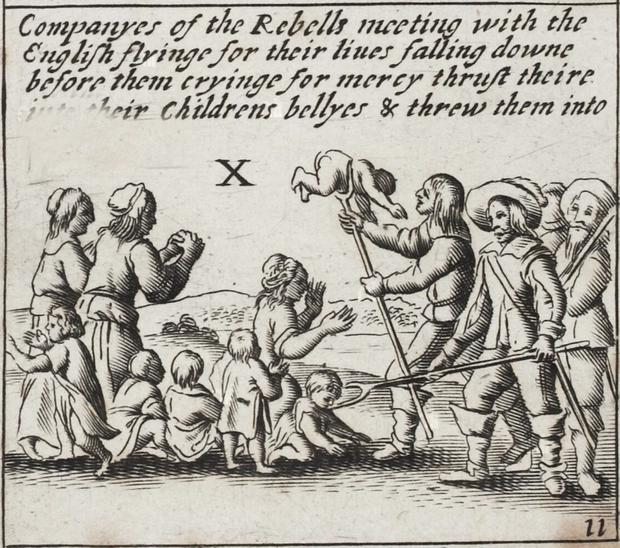 THE 1641 DEPOSITIONS: An engraving of supposed atrocities committed by Irish Catholics in the war of 1641