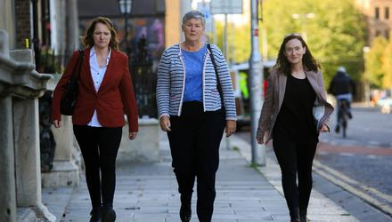 Members of Women of Honour (L to r) Diane Byrne, Karina Molloy and Yvonne O Rourke at The Department of Foreign Affairs today. Photo: Gareth Chaney/Collins
