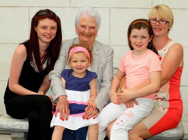 Lung transplant recipient Vera Dwyer with her daughter Linda Kiernan (right), granddaughters Amy Kiernan and Sarah Kiernan and great granddaughter, Leah Carmody (on Vera's lap)