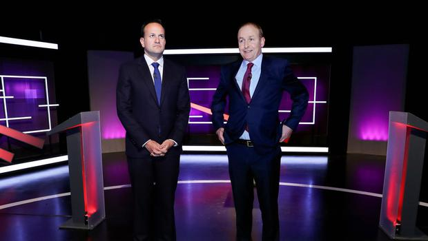 Leo Varadkar and Micheal Martin in an unguarded moment before last week's debate on Virgin TV. Photo: Maxwell