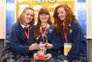 Charlotte Hale, 15, Jacqui whelan, 16, and Ellen Walsh 15, from Colaiste bhride Secondary school, in Carnew, Wicklow with their project, Liar Liar, genes on fire, at the BT Young Scientist and Technology Exhibition at the RDS. Photo: Damien Eagers