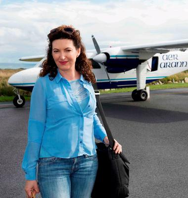 SHOCKED: TV presenter Maura Derrane getting off an Aer Arann flight in Connemara Airport
