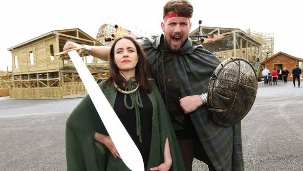 Actors at the launch of Tayto Park's Cú Chulainn roller coaster