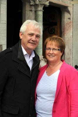 Fionnbar and Elma Walsh outside the memorial mass for their son Donal in Tralee yesterday