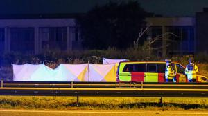Emergency services at the scene of a fatal road crash involving a truck and a car overnight which occurred on the N7 at Junction 3, just before Rathcoole. Photo: Damien Storan.