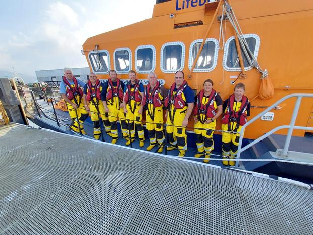 Fenit RNLI crew. From left: Coxswain Finbarr O'Connell, Kevin Honeyman, Lee Sugrue, Giles Kelliher, Des Sugrue, Kevin Deady, Coxswain Denise Lynch and Coxswain John J Moriarty