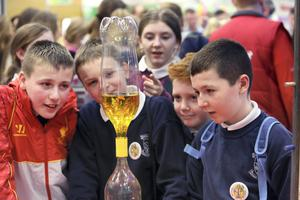 Craig Nolan, Sam Veale, James Henkel, and Dean Myler, from St Joseph's NS, Gleneally, Wicklow, at the Primary Schools Fair at the Young Scientist Exhibition at the RDS.
