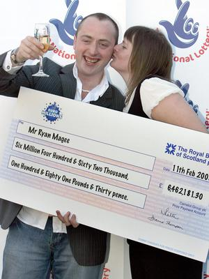 Ryan Magee picking up his cheque in 2008
