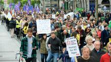 ANGER: Crowds at the Raise the Roof protest in Dublin yesterday. Picture: Caroline Quinn