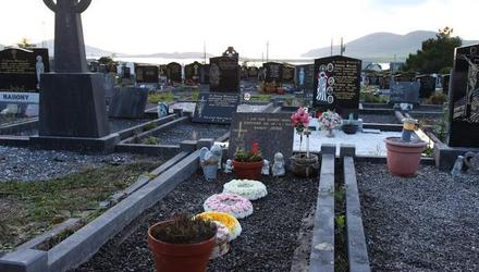 The infant's grave in Holy Cross cemetery in Cahersiveen, Co Kerry, after the exhumation and reinterral.