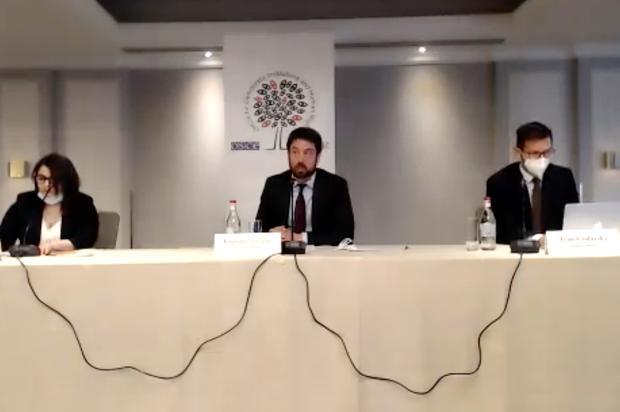 Eoghan Murphy at a press conference in the                   Armenian capital of Yerevan.