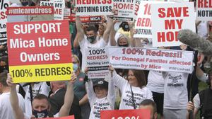 Homeowners affected by mica protest outside Convention Centre in Dublin PIC Gareth Chaney/ Collins Photos Dublin