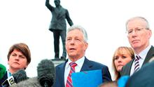 Peter Robinson addresses the media at Stormont
