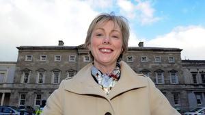 Meath East TD Regina Doherty outside Leinster House.