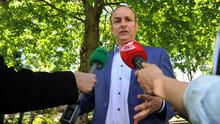 Fianna Fail leader Micheal Martin TD pictured addressing media in Ballintemple, Cork city following Senator Averil Power's decision to quit the party