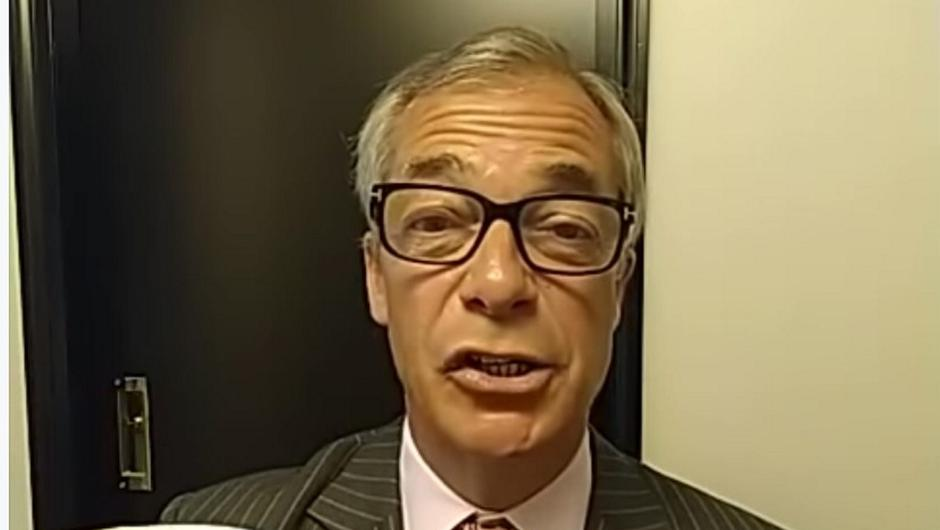 Up the Farage: Nigel Farage during his video greeting