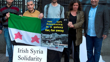 Members of the Syrian community in Ireland at a demonstration at the Dáil