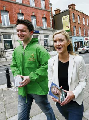 Fianna Fail Local Election Candidate for Blackrock Kate Feeney and canvassers meet shoppers. The local election candidate has been advised to steer clear of rival Mary Hanafin. Picture: Conor McCabe