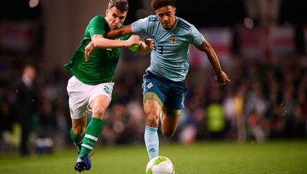 Seamus Coleman and Jamal Lewis in action at an international friendly match at the Aviva Stadium in 2018. Photo: Sportsfile.