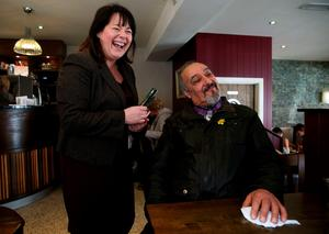 Sinn Fein candidate for Fermanagh and South Tyrone Michelle Gildernew with John Vaughan in Shambles restaurant  in Dungannon, Co. Tyrone