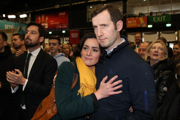 Kate O'Connell with her husband Morgan after                   narrowly losing her seat in the general election last                   year. Photo: Stephen Collins/Collins Agency