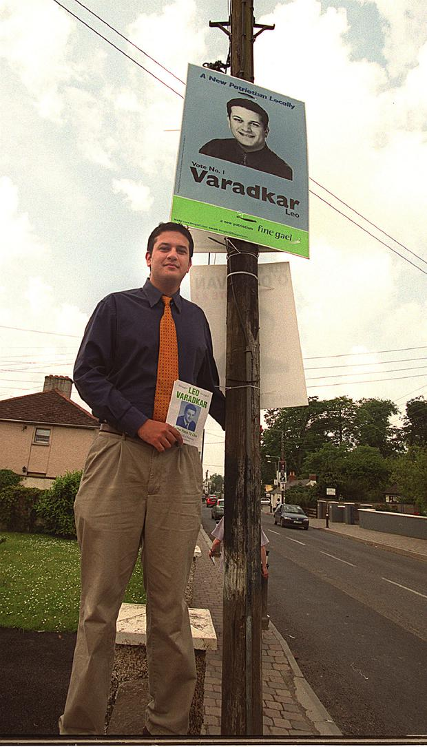 Leo Varadkar putting up election posters in Clonsilla in 1999