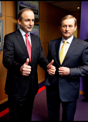 Political leaders Eamon Gilmore, Micheal Martin and Enda Kenny arrive ready to do battle on the TG4 debate at their studios in Connemara yesterday morning. Pic Steve Humphreys 16th February 2011.