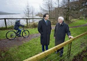 Dean O'Connor (11), from Blessington, Transport Minister Leo Varadkar and  project manager John Horan at the launch of the Blessington Greenway. Photo: Chris Bellew/Fennell Photography