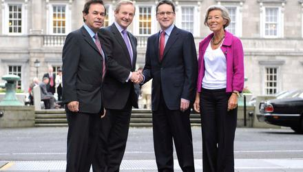 Fine Gael leader at the time, Enda Kenny, with Alan Shatter (left), Olivia Mitchell and George Lee (second from right) at the announcement that Mr Lee had become a member of Fine Gael and was nominated for the 2009 Dublin South by-election. Photo: Sasko Lazarov/Photocall Ireland