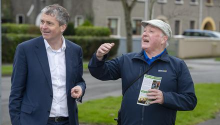 Pa Daly (left) talks to Eddie Cronin as he canvasses in Tralee during the 2020 election campaign. Photo: Domnick Walsh