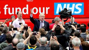 New politics: Boris Johnson on the campaign trail with the Vote Leave Brexit Battle Bus before the 2016 referendum