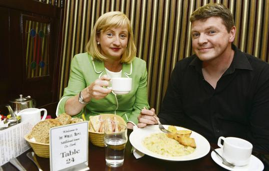 Food for thought: Aine Collins and Graham Clifford at lunch in The Wallis Arms Hotel in Millstreet, Cork