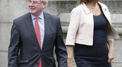 CHRISTMAS TRUCE: Eamon Gilmore and Joan Burton have put on a united front