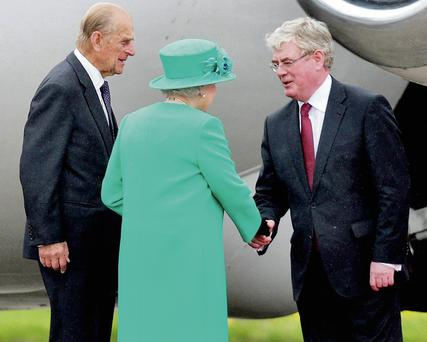 Eamon Gilmore and the Queen and Prince Phillip on the Royal visit to Ireland