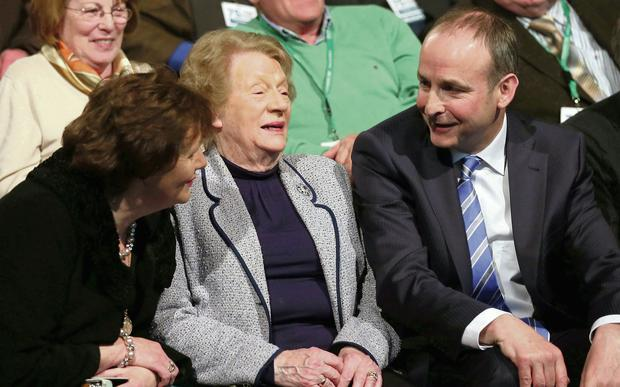 Fianna Fail leader Micheal Martin chats with his wife Mary (left) and his mother-in-law Mary O'Shea (centre) after his welcome address to the party's Ard Fheis in Killarney. Photocall
