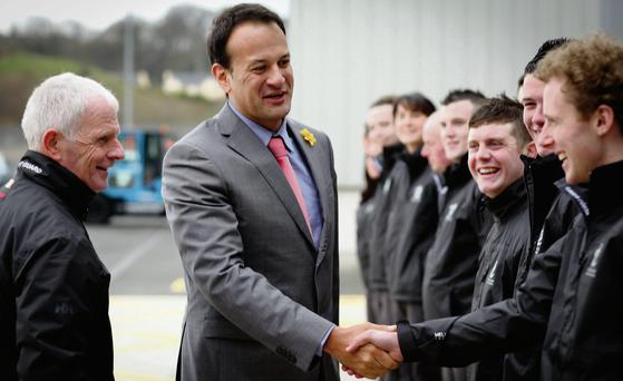 Minister for Transport, Tourism and Sport Leo Varadkar meets with members of the Irish Coast Guard