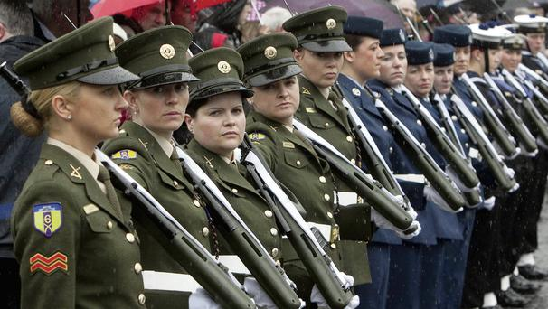 President Higgins was greeted at Glasnevin Cemetery by a Captains Courtesy guard of honour composed entirely of female members of the Irish Defence Forces. Picture: Fennell Photography