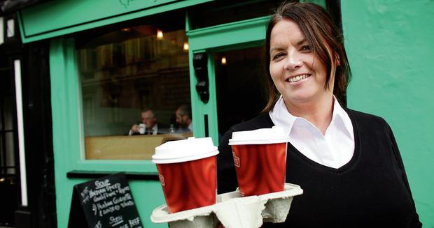 BLISTERING MISSIVE Carole Treacy, owner of the Petit Cafe, across the road from the Dail, said she did not have the luxury of calling on taxpayers' funds. Photo: Gerry Mooney