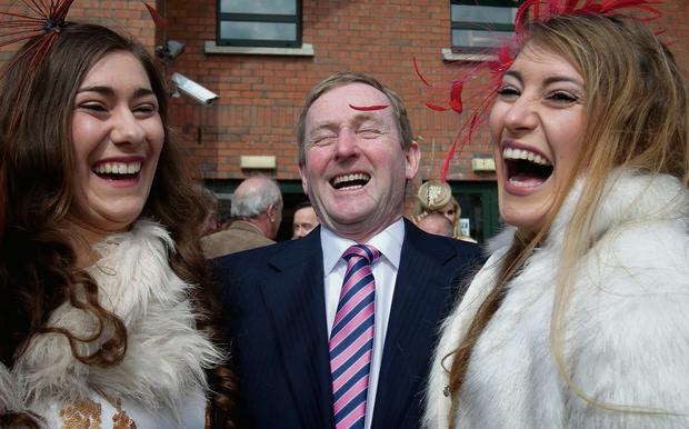Galway sisters Rachel and Miriam Hastings got up close and personal with Enda Kenny at Fairyhouse