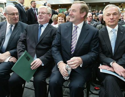 Phil Hogan, Eamon Gilmore, Enda Kenny and Richard Bruton at the opening of Local Enterprise Offices in Mullingar yesterday