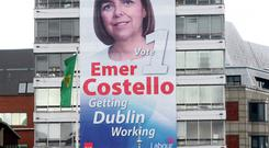 Emer Costello's giant election poster on Liberty Hall