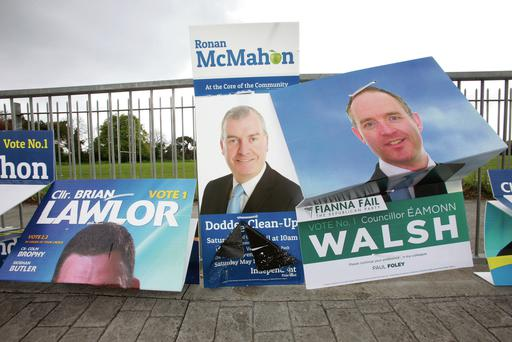 Fallen posters for next week's election