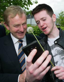 Jack Doyle from Carlow taking a selfie with The Taoiseach