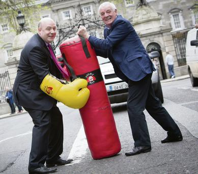 David Hall launching his campaign as an independent in the Dublin West by-election with Eamon Dunphy. Maxwells