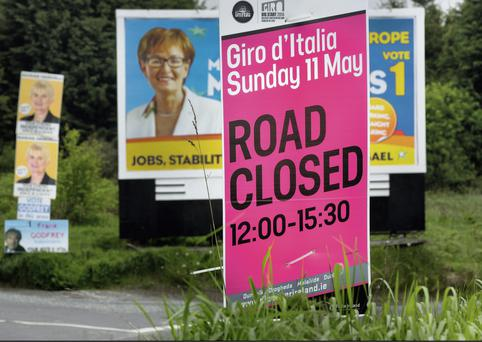 EYESORE: Irish election campaign posters line the path of the Giro d'Italia in the Republic. A massive global TV audience, as well as actual visitors, will be bombarded by such scenes — unlike the North, which has banned postering along the Giro route. Photo: David Conachy