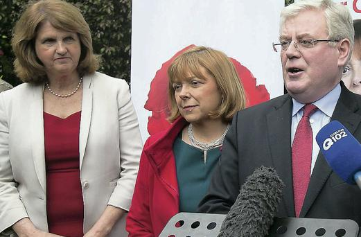 Joan Burton (left) with Tanaiste Eamon Gilmore at Emer Costello's European election launch. Picture: Gareth Chaney Collins
