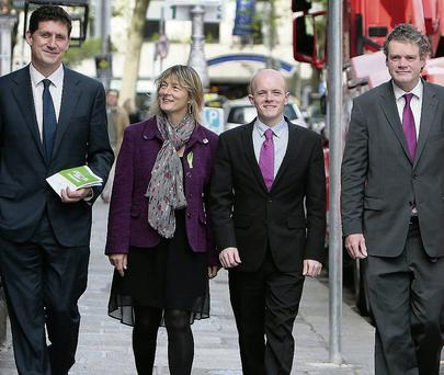 Green Party European election candidates (from left) Eamon Ryan, Grace O'Sullivan, Ross Brown and Mark Dearey. Picture: Tom Burke