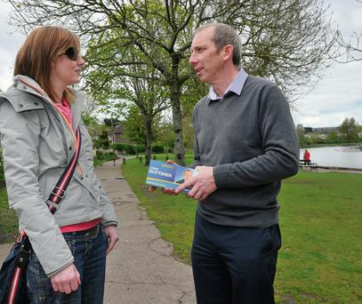 Fine Gael Councillor John Buttimer out canvassing for votes in Cork