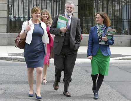 Sinn Fein leader Gerry Adams with European election candidates ( from left to right) Liadh Ni Riada, Martina Anderson and Lynn Boylan. Damian Eagers